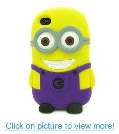 Fashion 3D Cute Despicable Me Minion Rubber Back Cover Silicone Phone Case Cover For Apple iPhone 4 4S 4G Purple