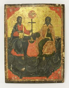 A Russian Holy Trinity icon, 19th century, painted on a gold ground with Jesus and God seated on a billowing cloud, 40.5 x 31cm Sold for £260 on 14th March 2017