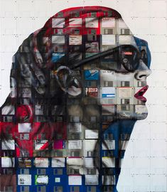 UK artist Nick Gentry (previously) has been quite busy lately, completing a number of his trademark portraits painted on a canvas of old 3 1⁄2″ floppy disks.