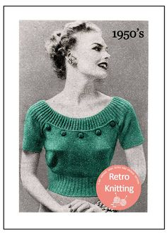 Pretty button yoke blouse with either short sleeves or no sleeves, Can be worn off the shoulder for the ultimate 50s Pin Up look. You will need: 5oz (142grams) of 3-ply for the sleeveless model or 6oz (171grams) of 3-ply for the short sleeve model. 10 x 15mm (1/2inch) cover buttons No.