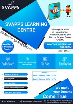 SVAPPS is a high-quality Software Training Institute in Warangal, Hanamkonda, Kazipet at an affordable price. Learning Centers, App Development, Mobile App, Digital Marketing, Software, Web Design, Profile, Training