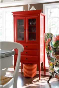 Red furniture: beautiful red (and catch a glimpse of that chair!)