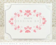 Wedding Day Card - love the silver paint pen edge and the pearl embellishments