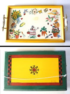 Hunsberger Pennsylvania Dutch Woodworks - Painted Serving Tray Gardening Theme - Amish Hex Symbol