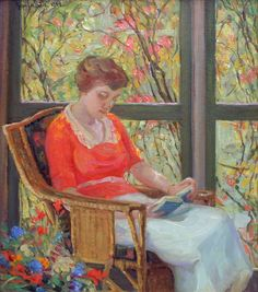 Anna Lee Dey Stacey (American, 1865 - 1943): Untitled (Woman Reading) (1921) (via Richard Norton Gallery).  Women Painters