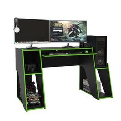 Gaming Desk With Keyboard Tray, Pc Gaming Desk, Cord Organization, Futuristic Technology, Cable Management, Wood Desk, Wood Construction, Storage Spaces, Games