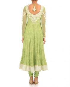 Lime Green Anarkali Suit - Preeti S Kapoor: Saris & Anarkalis - Designers