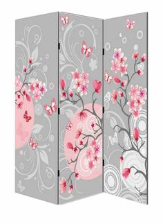 Room Divider Foldable Simple Wood Decorative Room Divider - Cherry blossom room divider screen