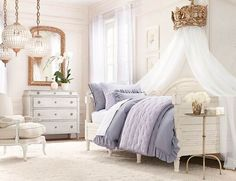 Elegance Blue White Traditional Room Design For Little Girl's With Giant Crown Above The Bed