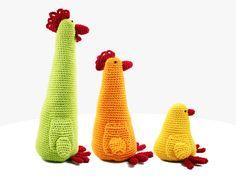 3 Hühner - 3 Größen - Häkelanleitung