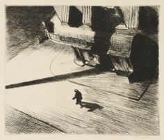 EDWARD HOPPER 1882 - 1967 NIGHT SHADOWS  Etching, 1921, signed in pencil, printed before steel-facing, aside from the edition of between 500 and 600 published in The New Republic, on wove paper