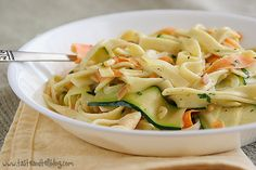Vegetable Ribbon Pasta. Looks yummy.