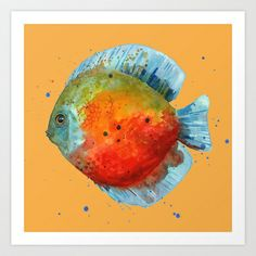 DISCUS FISH, Discus cushion, tropical fish, aquarium, ocean, nautical art, fish painting Art Print by eastwitching - $25.00