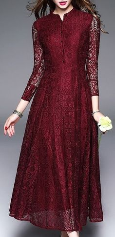 Shop Stand Collar Lace Hollow Out Embroidery Maxi Dress at EZPOPSY. Abaya Fashion, Muslim Fashion, Indian Fashion, Fashion Dresses, Modest Fashion, Runway Fashion, Fashion Tips, Salwar Designs, Blouse Designs