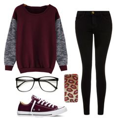 """Maroon and black❤️"" by laney-girl02 ❤ liked on Polyvore featuring Current/Elliott, Converse and ZeroUV"