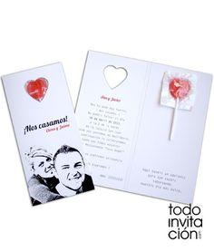 invitacion de boda piruleta original
