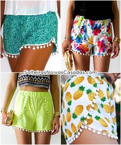 Trend Alert: Shorts com Pompom Grunge Outfits, Boho Outfits, Summer Outfits, Short Summer Dresses, Short Outfits, Belted Shorts, Boho Shorts, Moda Fashion, Trendy Fashion