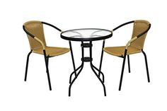 3 Piece Black & Natural rattan Bistro Set, 2 Chairs and Table