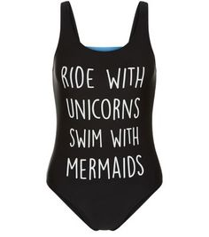 Teens Black Ride With Unicorns Swimsuit