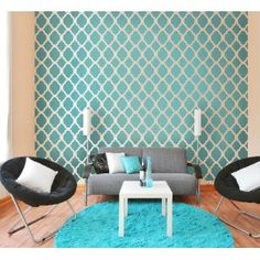 Wallpaper Stencil Rabat LG reusable stencils for walls instead of wallpaper great for DIY decor Top and Single stencil included Moroccan Wallpaper, Moroccan Stencil, Moroccan Design, Moroccan Tiles, Moroccan Decor, Moroccan Room, Moroccan Pattern, Blue Home Decor, Diy Home Decor