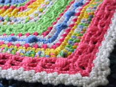 Baby Afghan: Free crochet pattern. This is the cutest afghan. Lots of different stitches and colors blend together to make the sweetest afghan that people will definitely be all smiles to receive!