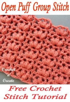 Open Puff Group Stitch Free Crochet Tutorial - - Open Puff Group Stitch - Gives a raised look and textured feel, this stitch is ideal for dish/washloths, blankets, pillows etc. Instructions are written in UK and USA formats below. Crochet Stitches Patterns, Stitch Patterns, Knitting Patterns, Unique Crochet Stitches, Crochet Crafts, Free Crochet, Knit Crochet, Puff Stitch Crochet, Crochet Birds