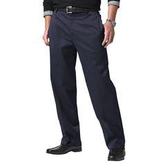 Dockers - Flat Front Navy Khaki Pants - Men's D3 Classic Fit - 36W X 30L #DOCKERS #DressFlatFront