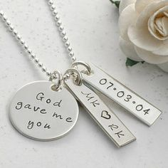 Our personalized God gave me you necklace is the perfect gift idea for new mommies, wedding day keepsakes, or anniversary gift! Available at Whole Soul Jewelry. $74.00 http://www.wholesouljewelry.com/god-gave-me-you-necklace-jennifer/