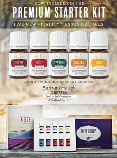Starting on April 5, Premium Starter Kits will come with the five new Vitality essential oils     Same great Young Living oils, just labeled for dietary use. #health #food #herbs For more info:  http://yldist.com/a2z4health/