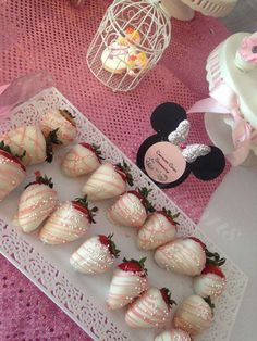 Chocolate strawberries at a Minnie Mouse party! See more party ideas at CatchMyParty.com!