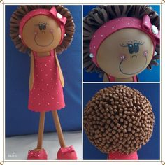 Fofucha - a foam doll. This one for my sister. Foam Crafts, Arts And Crafts, Diy Crafts, Felt Crafts Patterns, Miniture Things, Projects To Try, Felt Projects, Cake Toppers, Origami