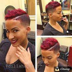 STYLIST SPOTLIGHT: let this marinate for a second…so fly! | styled and cut by @dillahajhair #hairinspiration #hairstyle #hairstylist #haircolor #haircut #redhair #pixiecut #barber #trialsntresses...