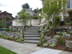 I like the right side for on a hill/bank.with some hostas and annuals for color wall and stones keep the hill side from sliding Flower Landscape, Landscape Walls, Landscape Design, Garden Design, Tiered Landscape, Landscaping On A Hill, Landscaping Company, Hillside Garden, Outdoor Steps