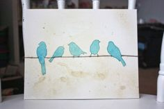 5 birds on a wire...love the thread as the wire.