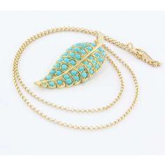 Estate Jennifer Meyer 14k & 18k Yellow Gold Turquoise Leaf Pendant Necklace | Portero Luxury