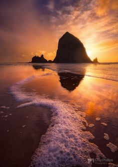 "Winter Sunset Haystack Rock - A winter sunset at Cannon Beach on the Oregon Coast. Many techniques used on this image are demonstrated in my editing videos: <a href=""http://www.chipphillipsphotography.com/Other/Videos/21945010_GhtPKD"">Image Editing Volume 1</a>"