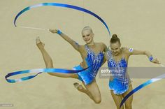Finland's team performs during the Rhythmic Gymnastics test event final for Rio 2016 Olympic games at Rio Olympic Arena of the Olympic Park in Rio de Janeiro, Brazil, on April 22, 2016. / AFP / YASUYOSHI
