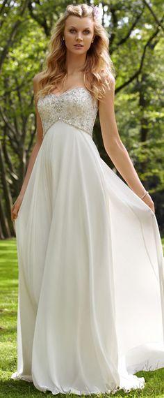 0c71af04868 Charming Chiffon   Satin Empire Sweetheart Empire Waist Wedding Dress  Cremefarbene Lange Kleider
