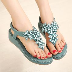 c740c5b61 Find More Women s Sandals Information about 35 40 blue women casual shoes  bling crystal beach flat