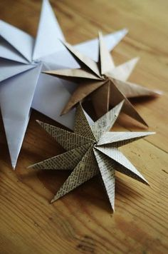 DIY paper star and other Christmas craft ornaments.