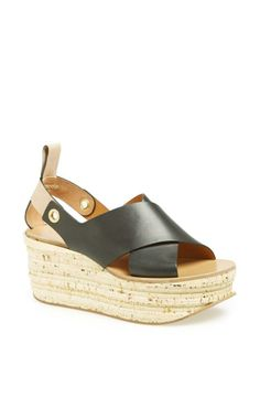 Love the stacked cork platform on this Chloé sandal!