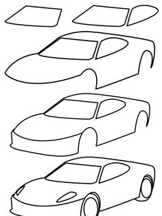 How To Draw Car Easy Step By Step Coloring Pages For Kids How To Paint Car  Funny Coloring Book | How To Draw Car Easy Step By Step Coloring Pages ...