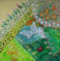 I ❤ crazy quilting, beading & embroidery . . . CQI Spring is Sprung DYB my own work- By peltolaritva