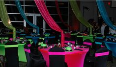 neon party by www.settingthemood.biz. Possible Neon Lights Band Banquet Theme.