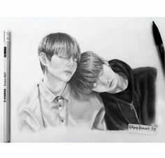 I don't ship them but this is gorgeous Kpop, Chinese Drawings, Vkook Fanart, Bts Drawings, Bts Fans, I Love Bts, Worldwide Handsome, Pictures To Draw, Taekook