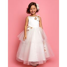 A-line Princess Jewel Ankle-length Tulle And Satin Flower girl Dress(618894)   – EUR € 89.99