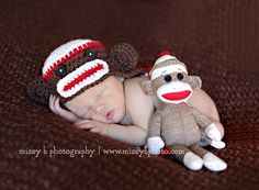 Off White, Red & Brown Sock Monkey Earflap Hat with Matching Doll - Newborn Baby Boy or Girl Photography