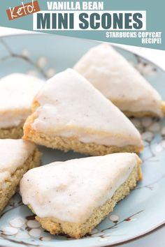 Mini Vanilla Bean Scones - Keto Recipe - All Day I Dream About Food Keto Foods, Keto Approved Foods, Keto Snacks, Copycat Recipes, Gourmet Recipes, Low Carb Recipes, Dessert Recipes, Bread Recipes, Healthy Recipes