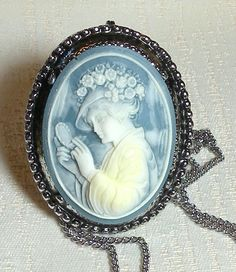 50% OFF Cream on Blue Cameo Oval by RosePetalResources on Etsy, $11.00