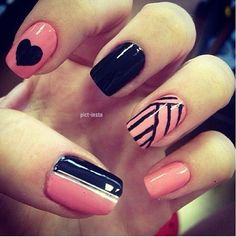 Volleyball Nails with a little design also :)
